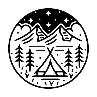 Design de distintivo ao ar livre vintage de acampamento de montanha monoline