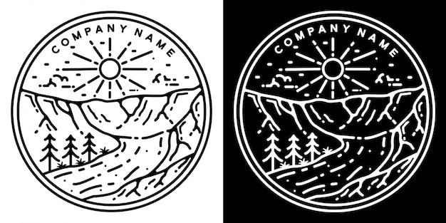 Design de distintivo ao ar livre vintage de falésias