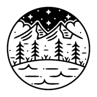 Design de distintivo ao ar livre vintage de montanha monoline