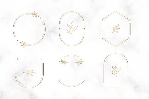 Design de distintivo botânico mínimo
