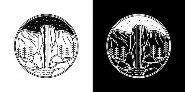 Design de distintivo de cachoeira monoline