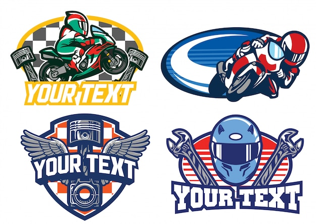 Design de distintivo de corrida de moto