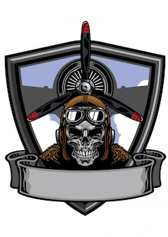 Design de distintivo de crânio piloto
