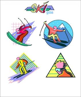 Design de distintivo de esqui dos anos 90