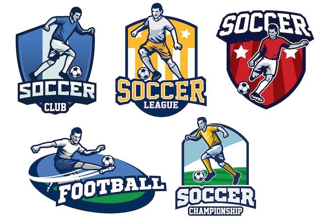 Design de distintivo de futebol em conjunto