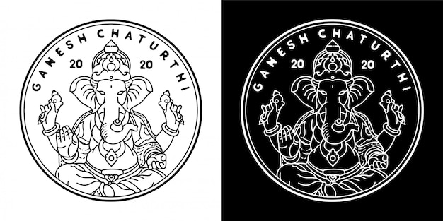 Design de distintivo de ganesh chaturthi monoline