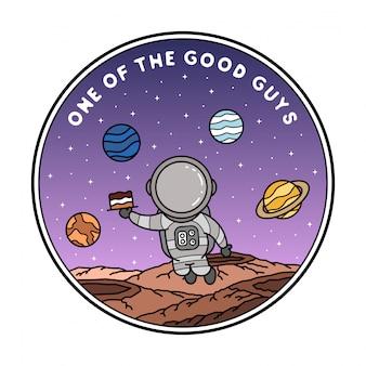 Design de distintivo de monoline de astronauta