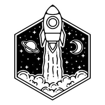 Design de distintivo de monoline vintage de foguete bonito