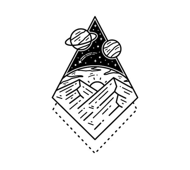 Design de distintivo de tatuagem monoline galaxy universo espaço