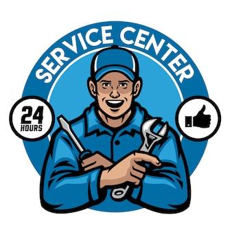Design de distintivo de trabalhador de centro de serviço