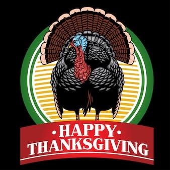 Design de distintivo de turquia com texto feliz ação de graças