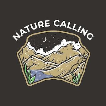 Design de distintivo vintage de montanha e lago