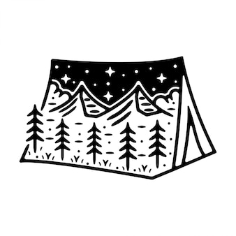 Design de distintivo vintage para tenda monoline vintage