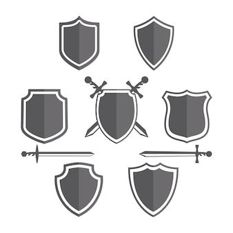 Design de distintivos de escudos simples.