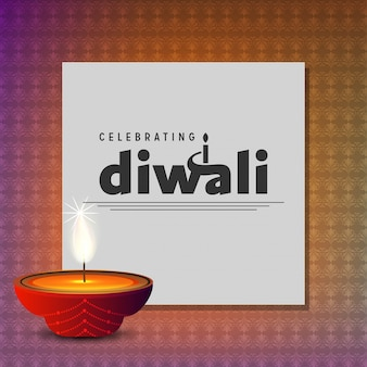 Design de diwali com estilo único e tipografia vector