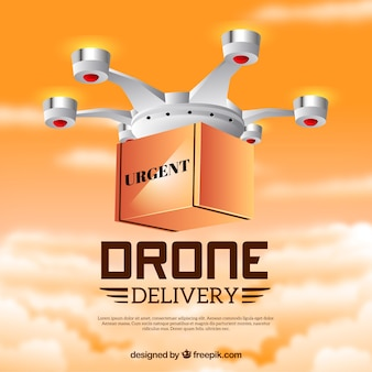 Design de drone de entrega com nuvens