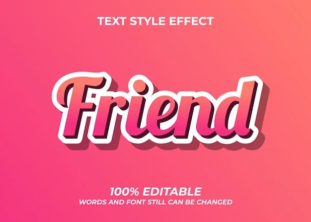 Design de efeito de estilo de texto de amigo