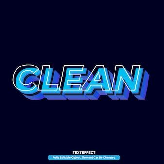 Design de efeito de texto 3d limpo azul