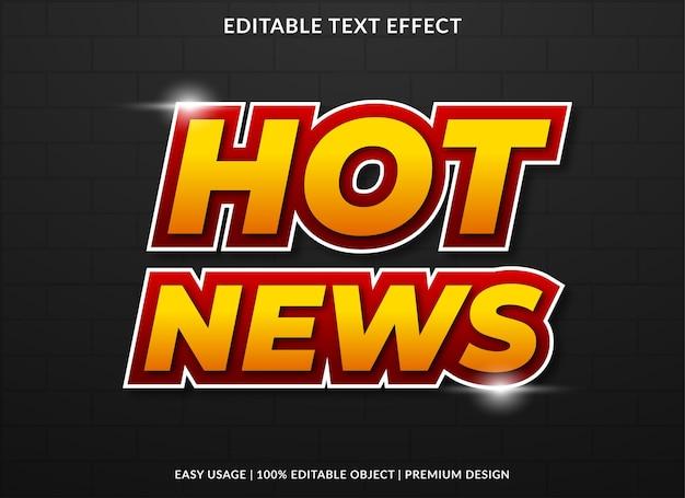 Design de efeito de texto de notícias quentes com estilo ousado