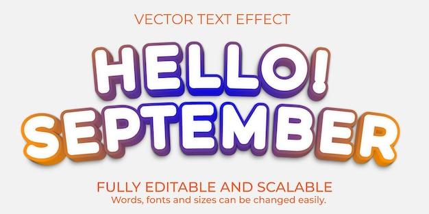 Design de efeito de texto editável de vetor premium olá setembro
