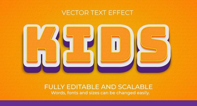 Design de efeito de texto editável para crianças de vetor premium