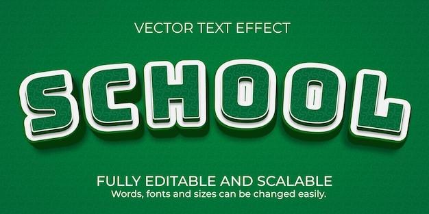 Design de efeito de texto editável para escola de vetor premium