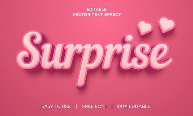 Design de efeito de texto editável surpresa com vetor premium