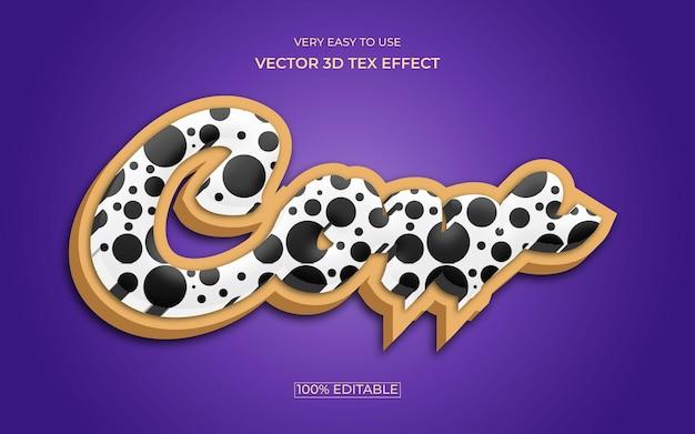 Design de efeito de texto premium 3d editável de vaca