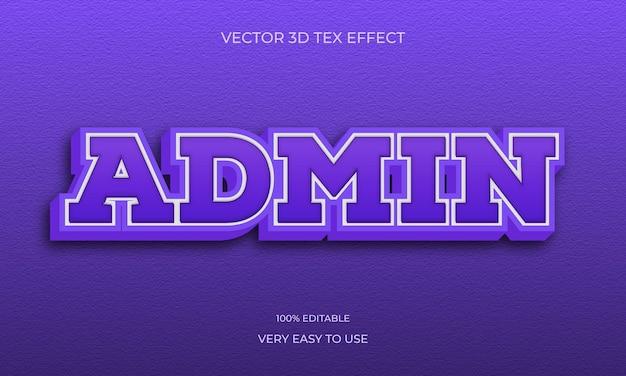 Design de efeito de texto premium de estilo admin 3d