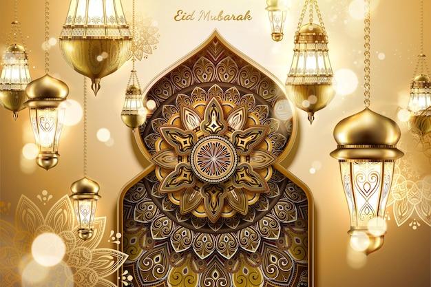 Design de eid mubarak com lanternas penduradas e padrões de arabescos em cúpula de cebola