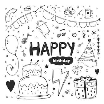 Design de elemento de feliz aniversário com estilo doodle