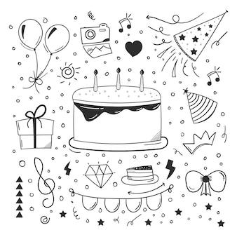 Design de elemento de feliz aniversário esboçado com estilo doodle