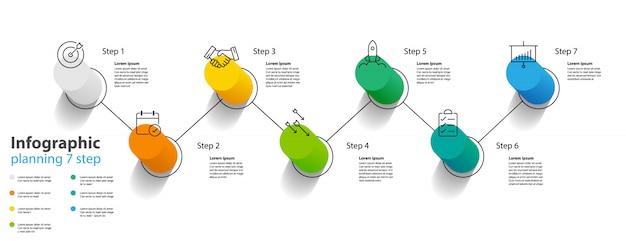 Design de elemento infográfico 7 passos, planejamento infochart