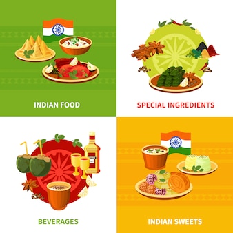 Design de elementos de comida indiana