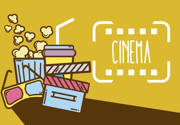 Design de elementos de desenhos animados de cinema bonito