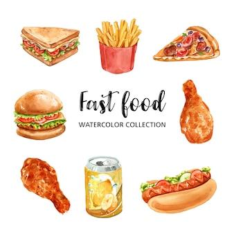 Design de elementos de fast-food com aquarela