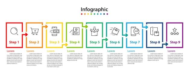 Design de elementos infográfico 9 passos, planejamento infochart