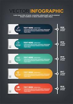 Design de elementos infográfico com 5 opções