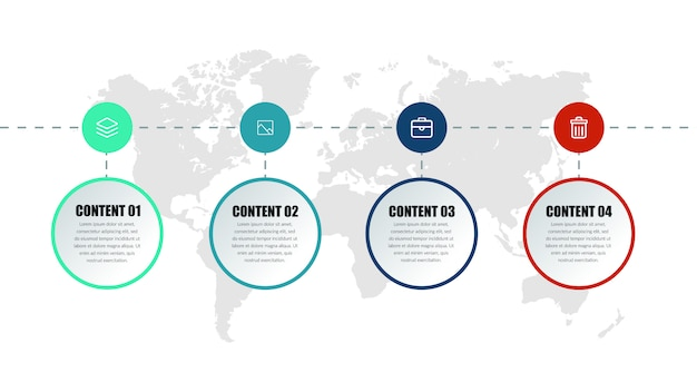 Design de elementos infográfico de negócios de quatro pontos