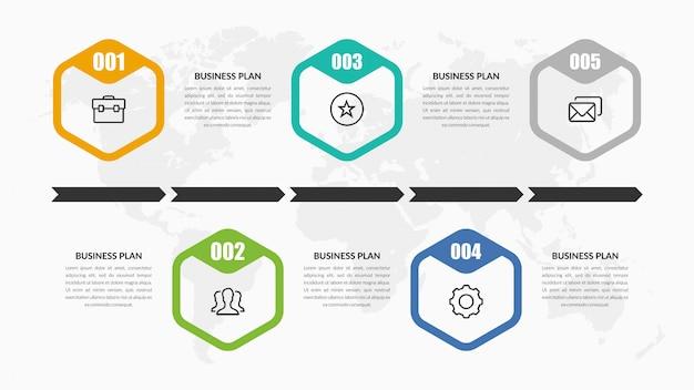 Design de elementos infográfico timeline com ícone
