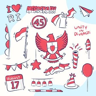 Design de elementos para o dia da independência da indonésia, estilo desenhado à mão, merdeka significa independente