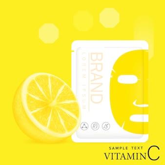 Design de embalagem 3d, máscara facial, hidratante.