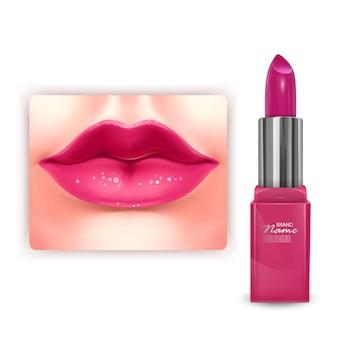Design de embalagem cosmética de batom rosa brilhante em ilustração 3d