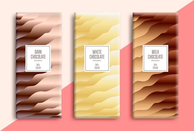 Design de embalagem de barra de chocolate.