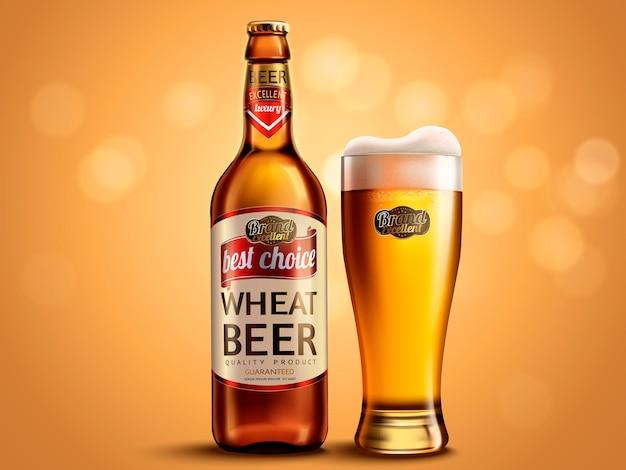 Design de embalagem de cerveja de trigo, garrafa de vidro e copo com cerveja atraente, ilustração 3d na superfície do bokeh de brilho