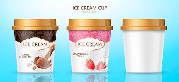 Design de embalagem de copo de sorvete para diferentes sabores em fundo azul na ilustração 3d