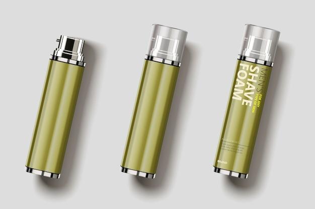 Design de embalagem de espuma de barbear, vista superior do frasco de spray em branco na ilustração 3d