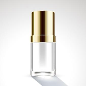 Design de embalagem de frasco cosmético com tampa dourada em ilustração 3d