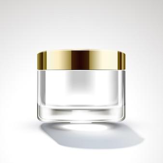 Design de embalagem de frasco de creme com tampa dourada em ilustração 3d