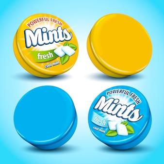Design de embalagem de goma de mascar com sabor de menta